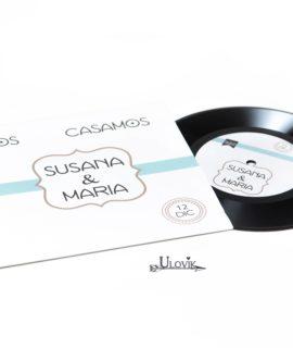 """Invitacion De Boda Disco De Vinilo """"Retro"""""""