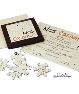 Invitacion De Boda Cajita Puzzle  «Creme»