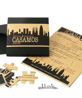 Invitacion De Boda Cajita Puzzle  «City»