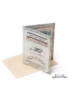 Invitacion De Boda Pasaporte «Vuelo A La Felicidad»