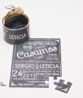 Invitacion De Boda Lata Puzzle «Pizarra»